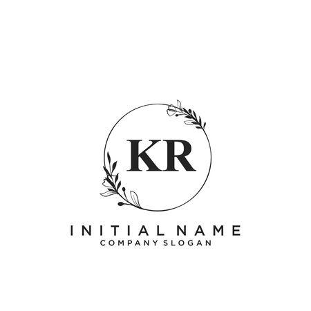 Letter KR Beauty Logo Template Vector