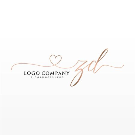Illustration for Initial handwriting logo design. Logo for fashion,photography, wedding, beauty, business company. - Royalty Free Image