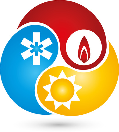 Three drops, logo, sun, snow, Flame