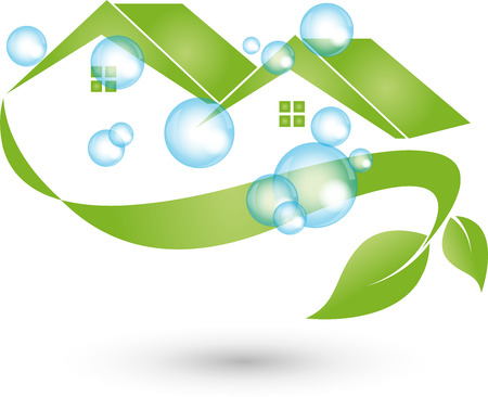 Illustration pour House cleaned, Logo, cleaning, cleaning company - image libre de droit