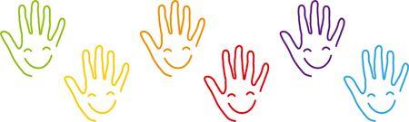 Ilustración de Many hands, faces, smiles, children - Imagen libre de derechos