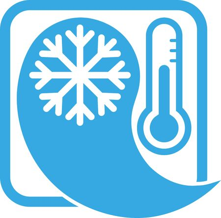 Drops with snowflake, thermometer, air conditioning