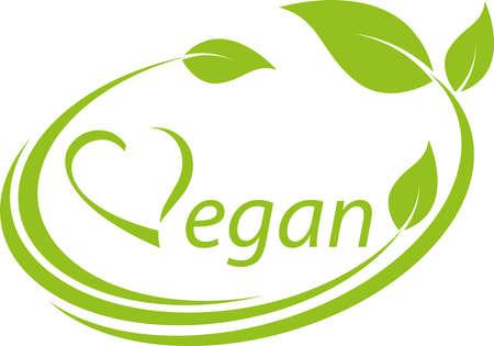 Illustration for Vegetarian symbol with leaves, heart, vegan, background - Royalty Free Image