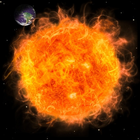 Real Earth Planet in space. Big red fire sun.