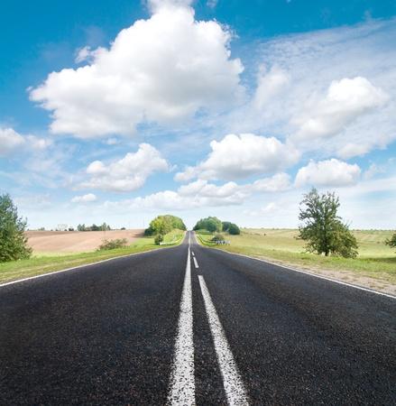 Photo pour Asphalt road in green meadow. Belarus.  Sepia effect.  - image libre de droit