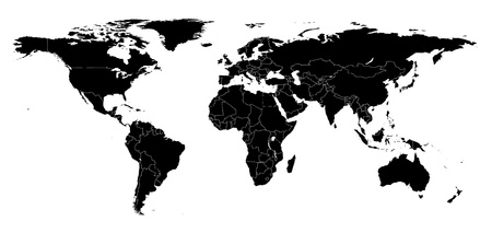 Real detail world map of continents. Black-and-white illustration. Maked Work Path