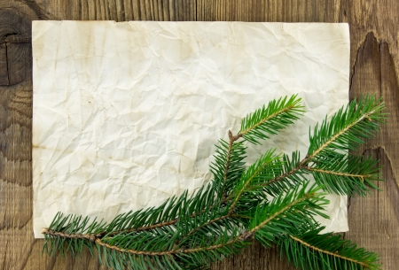 Christmas Background.Blank Old Paper Sheet with Decoration