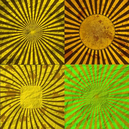 Set Vintage Colored Rays background. EPS10. Vector illustration