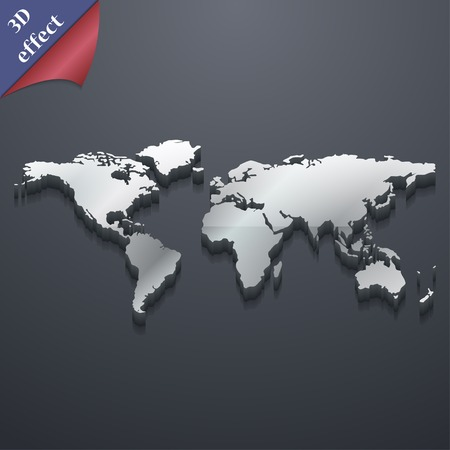 World map icon symbol. 3D style. Trendy, modern design with space for your text Vector illustration