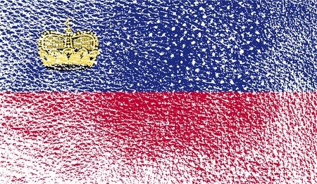 Flag of Liechtenstein with old texture. Vector illustration