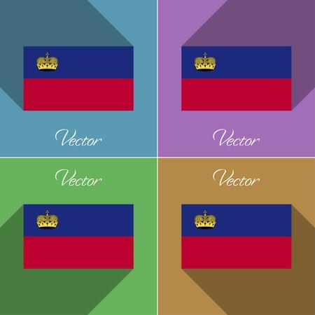 Flags of Liechtenstein. Set of colors flat design and long shadows. Vector illustration