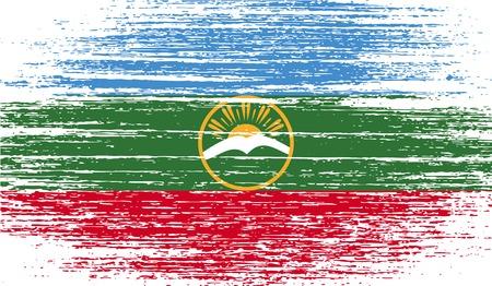 Flag of Karachay-Cherkessia Republic, Russia with old texture.  illustration