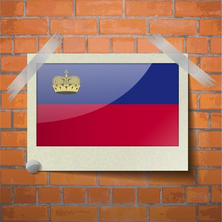 Flags of Liechtenstein scotch taped to a red brick wall. Vector