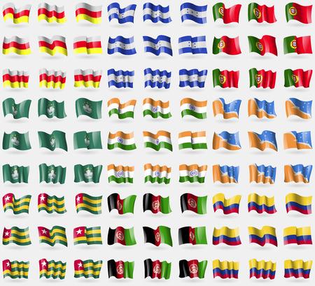 North Ossetia, Honduras, Portugal, Macau, India, Tierra del Fuego Province, Togo, Afghanistan, Colombia. Big set of 81 flags. Vector illustration