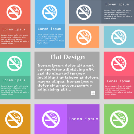 no smoking icon sign. Set of multicolored buttons with space for text. Vector illustration