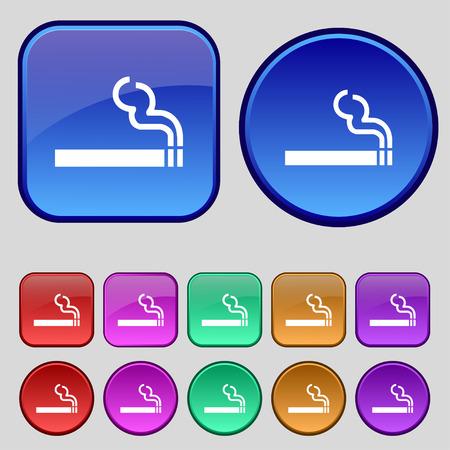 cigarette smoke icon sign. A set of twelve vintage buttons for your design. Vector illustration