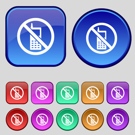 mobile phone is prohibited icon sign. A set of twelve vintage buttons for your design. Vector illustration