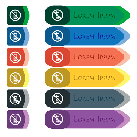mobile phone is prohibited icon sign. Set of colorful, bright long buttons with additional small modules. Flat design. Vector