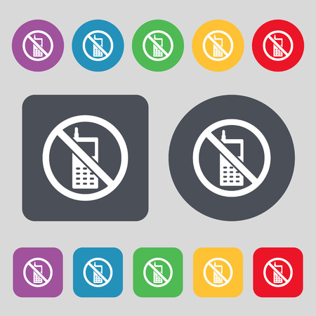 mobile phone is prohibited icon sign. A set of 12 colored buttons. Flat design. Vector illustration