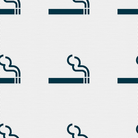 cigarette smoke icon sign. Seamless pattern with geometric texture. Vector illustration
