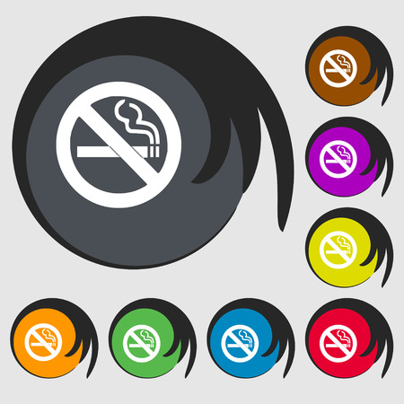 no smoking icon sign. Symbol on eight colored buttons. Vector illustration