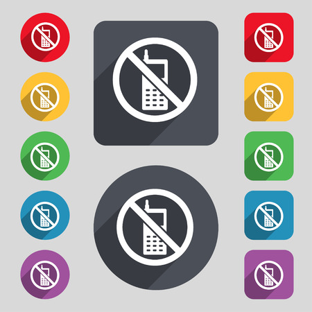 mobile phone is prohibited icon sign. A set of 12 colored buttons and a long shadow. Flat design. Vector illustration
