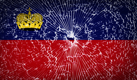 Flags of Liechtenstein with broken glass texture. Vector illustration