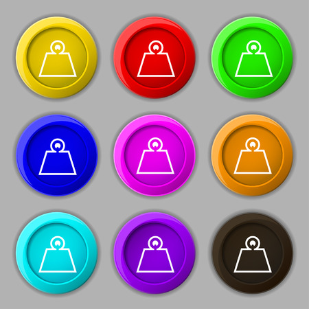 Weight icon sign. symbol on nine round colourful buttons. Vector illustration
