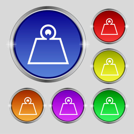 Weight icon sign. Round symbol on bright colourful buttons. Vector illustration