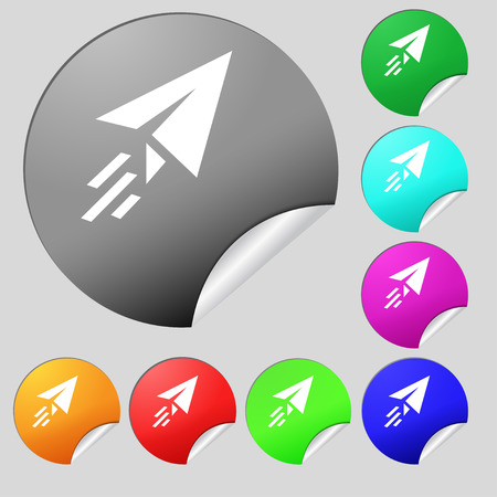Paper airplane icon sign. Set of eight multi colored round buttons, stickers. Vector illustration