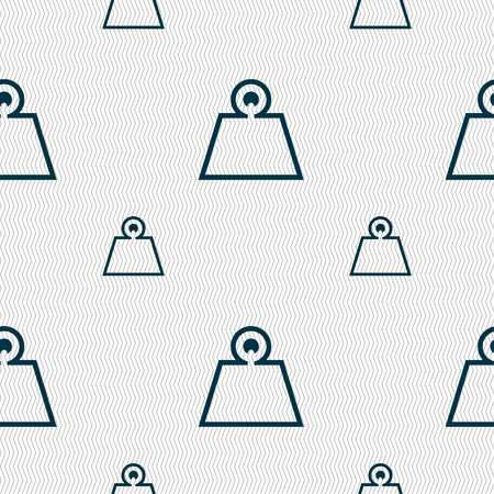 Weight icon sign. Seamless pattern with geometric texture. Vector illustration