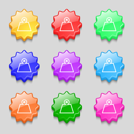 Weight icon sign. symbol on nine wavy colourful buttons. Vector illustration