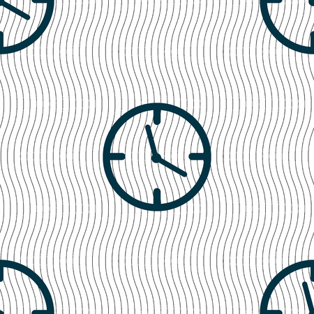 Clock time sign icon. Mechanical watch symbol. Seamless pattern with geometric texture. Vector illustration