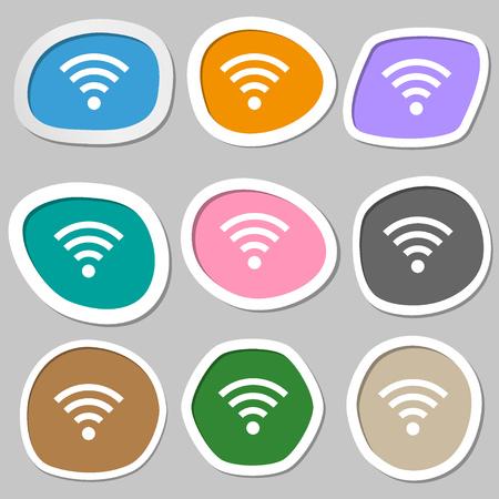 Wifi sign. Wi-fi symbol. Wireless Network icon zone. Multicolored paper stickers. illustration