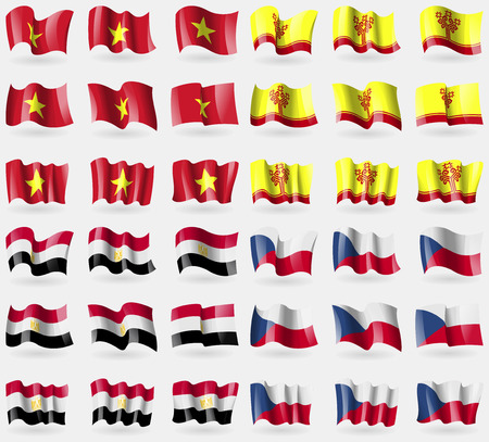 Vietnam, Chuvashia, Egypt, Czech Republic. Set of 36 flags of the countries of the world. illustration