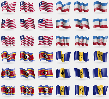 Liberia, Mari El, Swaziland, Barbados. Set of 36 flags of the countries of the world. illustration