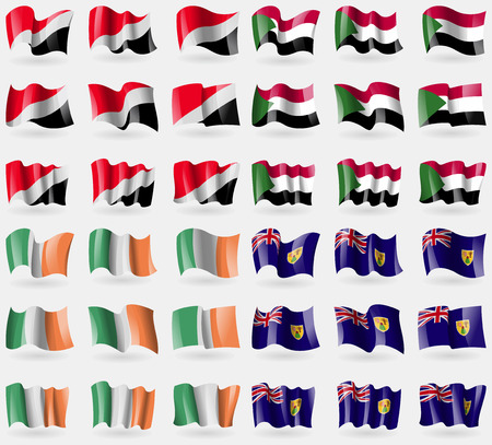 Sealand Principality, Sudan, Ireland, Turks and Caicos. Set of 36 flags of the countries of the world. illustration
