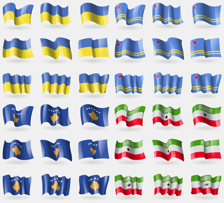 Ukraine, Aruba, Kosovo, Somaliland. Set of 36 flags of the countries of the world. illustration