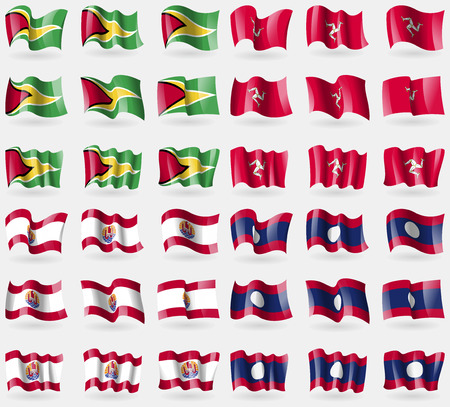Guyana, Isle of man, French Polynesia, Laos. Set of 36 flags of the countries of the world. illustration