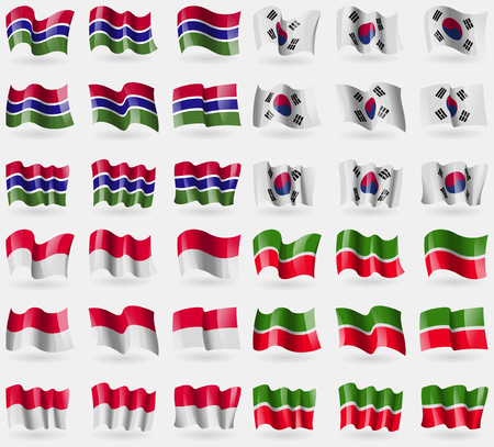 Gambia, Korea South, Monaco, Tatarstan. Set of 36 flags of the countries of the world. illustration