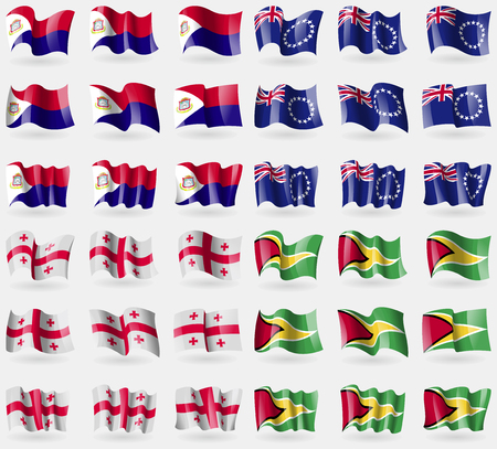 Saint Martin, Cook Islands, Georgia, Guyana. Set of 36 flags of the countries of the world. illustration