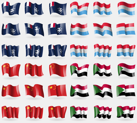 French and Antarctic, Luxembourg, China, Sudan. Set of 36 flags of the countries of the world. illustration
