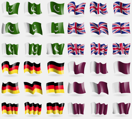 Pakistan, United Kingdom, Germany, Qatar. Set of 36 flags of the countries of the world. illustration