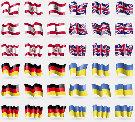 French Polynesia, United Kingdom, Germany, Ukraine. Set of 36 flags of the countries of the world. illustration