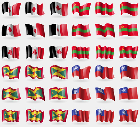 Udmurtia, Transnistria, Grenada, MyanmarBurma. Set of 36 flags of the countries of the world. illustration