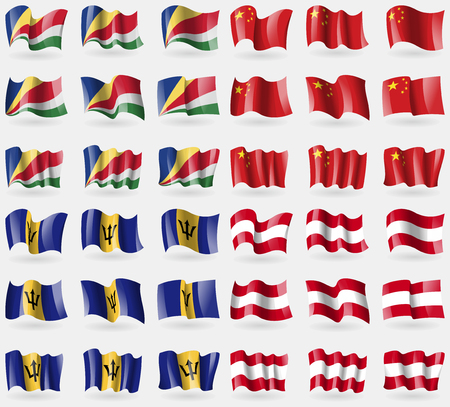Seychelles, China, Barbados, Austria. Set of 36 flags of the countries of the world. illustration