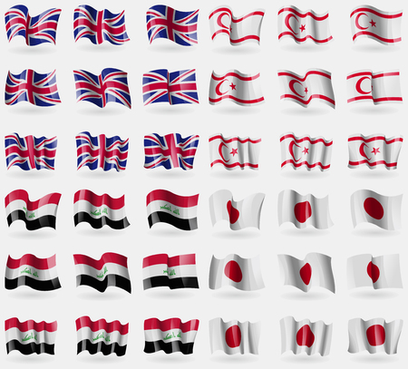 United Kingdom, Turkish Northern Cyprus, Iraq, Japan. Set of 36 flags of the countries of the world. illustration