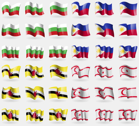 Bulgaria, Philippines, Brunei, Turkish Northern Cyprus. Set of 36 flags of the countries of the world. illustration