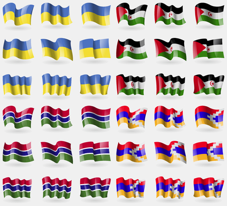 Ukraine, Western Sahara, Gambia, Karabakh Republic. Set of 36 flags of the countries of the world. illustration