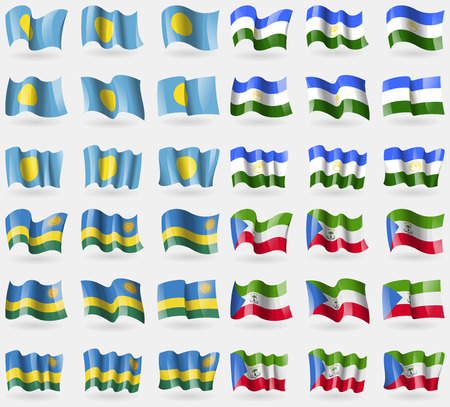 Palau, Bashkortostan, Rwanda, Equatorial Guinea. Set of 36 flags of the countries of the world. illustration